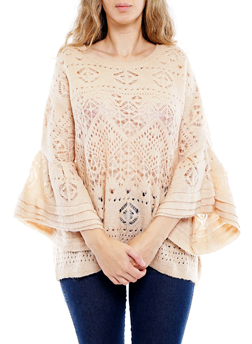 Cute cheap layered bell-sleeve crochet top