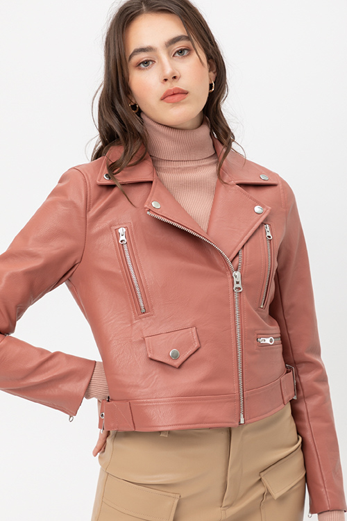 Cute cheap Leather with Zipper jacket