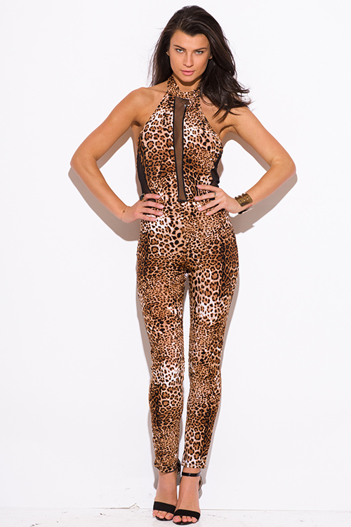 Cute cheap leopard animal print backless mesh panel fitted boycon party catsuit jumpsuit
