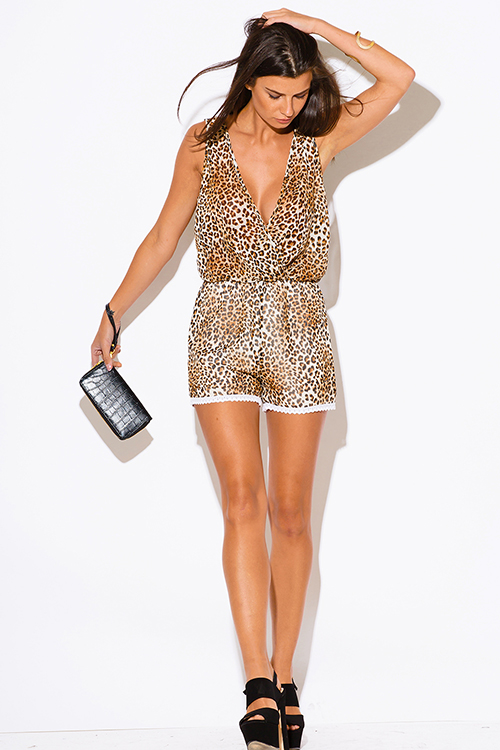 Cute cheap leopard animal print chiffon clubbing romper jumpsuit
