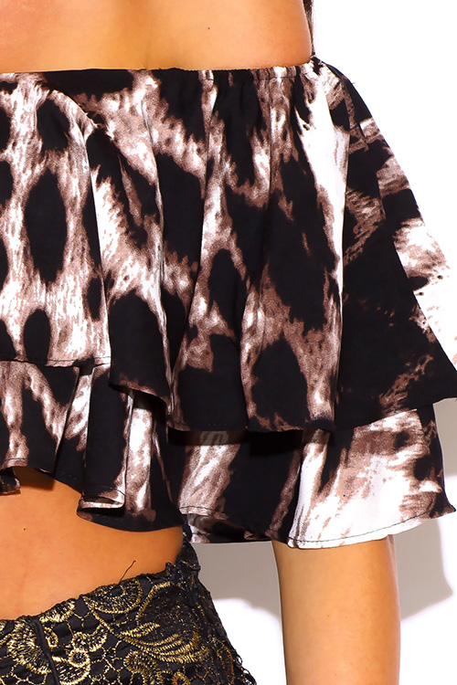 Cute cheap leopard animal print ruffle off shoulder crop top