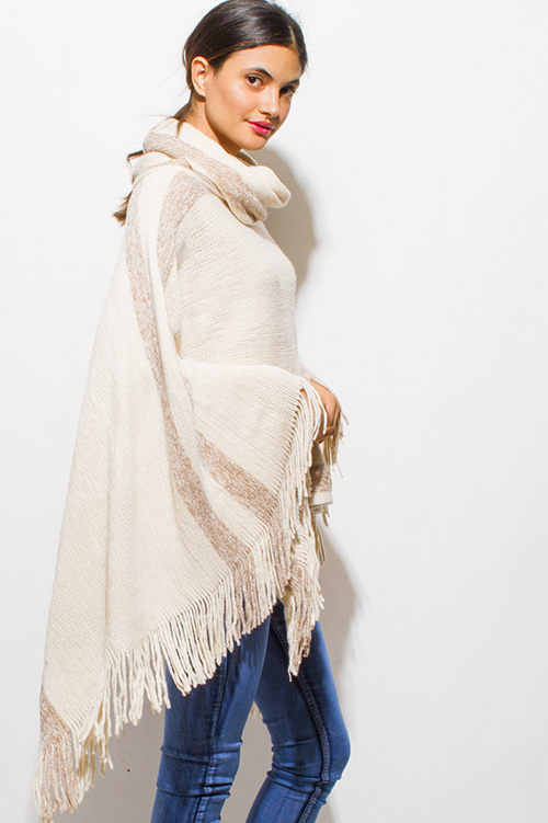 Cute cheap light beige color block metallic lurex fringe trim cowl neck sweater knit boho poncho tunic top
