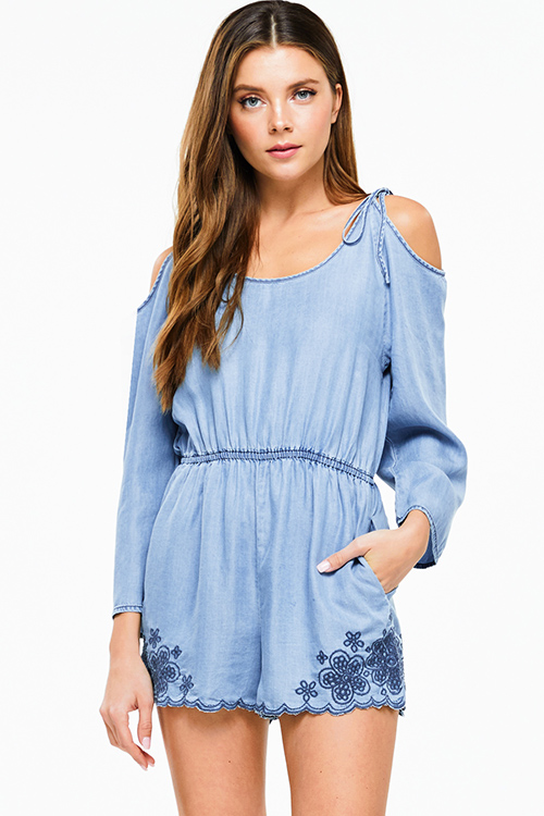 Cute cheap light blue chambray embroidered scallop hem cold shoulder tie long sleeve boho romper