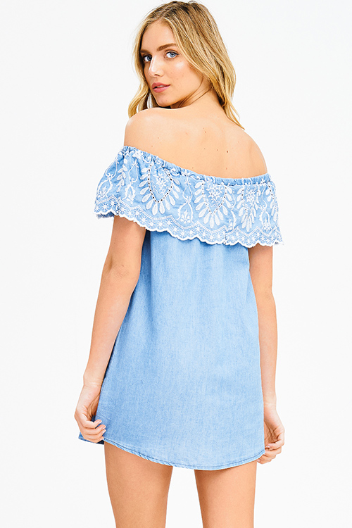 Cute cheap light blue chambray ruffle tiered embroidered off shoulder boho mini sun dress