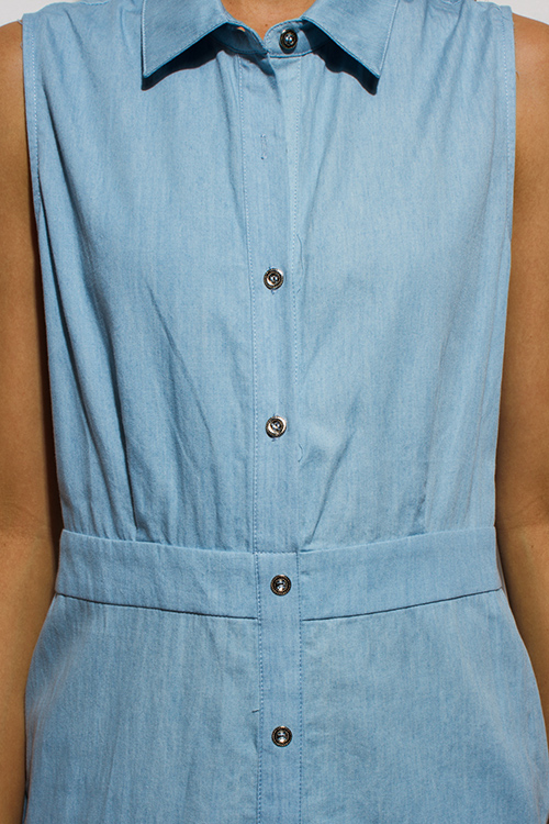 Cute cheap light blue chambray sleeveless button up cut out twisted back knot pocketed denim midi dress