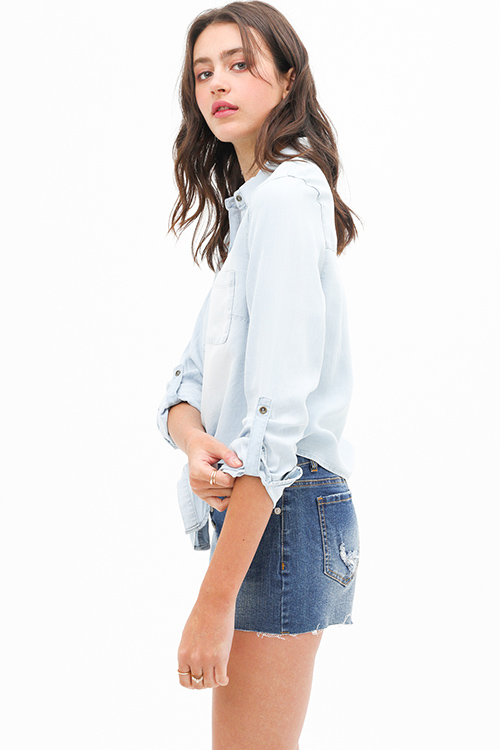 Cute cheap Light blue chambray tie hem button up boho denim blouse top
