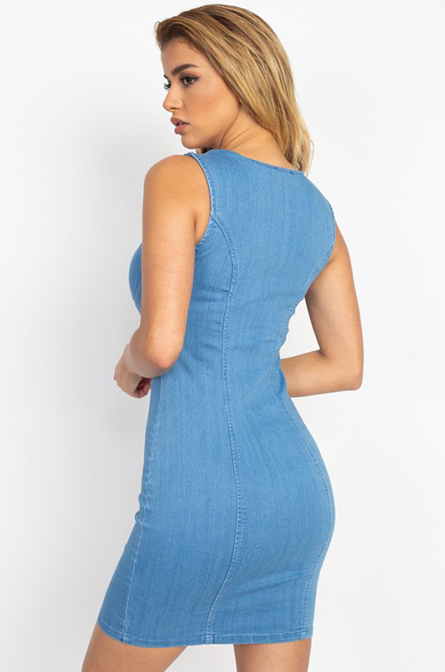 Cute cheap Light blue denim sleeveless bustier square neck button up bodycon mini dress