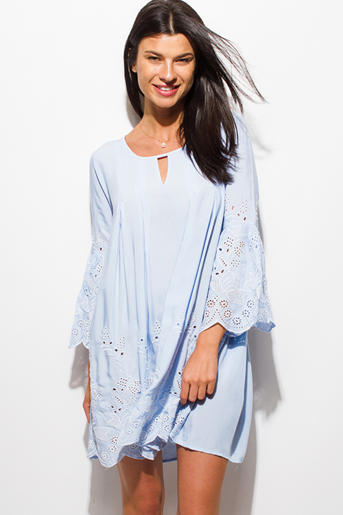 Cute cheap light blue eyelet embroidered long sleeve scallop hem boho shift mini swing dress