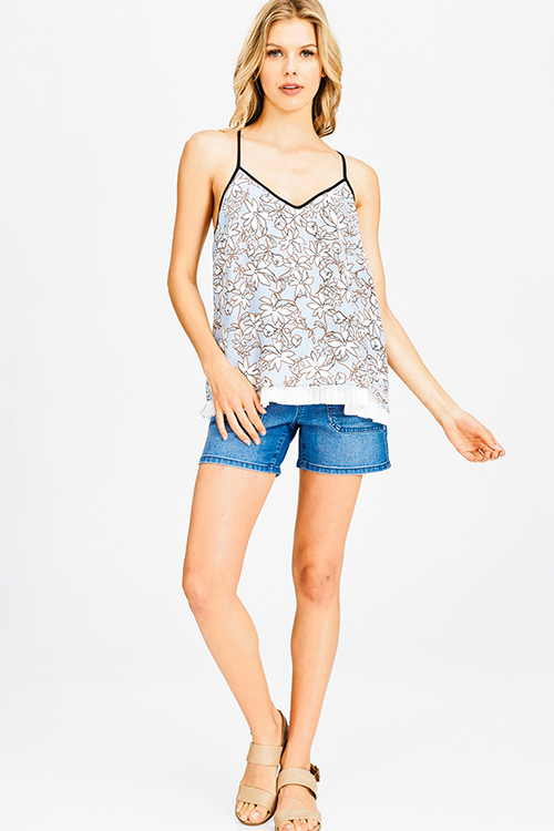Cute cheap light blue floral print v neck layered pleated racer back resort boho tank top
