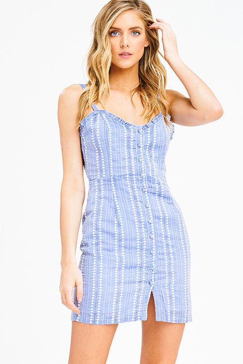 Cute cheap light blue polka dot embroidered sleeveless button up cocktail party mini sun dress
