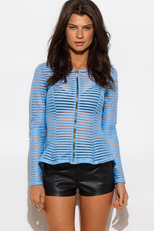 Cute cheap light blue semi sheer stripe mesh fitted zip up jacket top