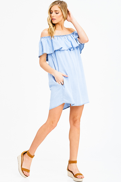 Cute cheap light blue tencel ruffle tiered off shoulder pocketed chambray boho mini sun dress