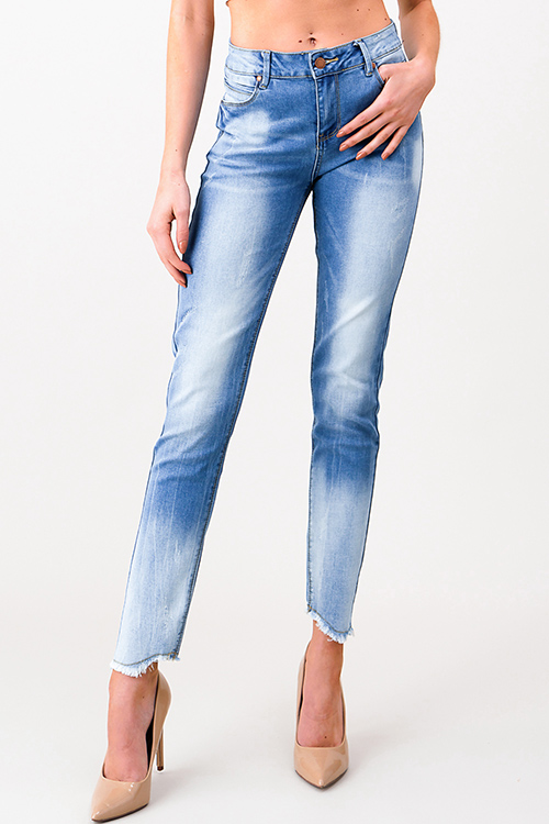 Cute cheap Light blue vintage washed denim mid rise distressed frayed hem fitted skinny jeans