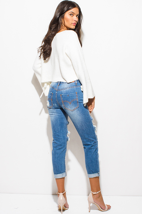 Cute cheap light blue washed denim distressed destroyed rhinestone embellished bejeweled boho boyfriend jeans