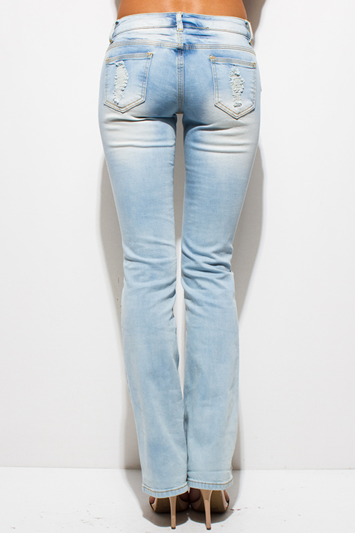 Cute cheap light blue washed denim distressed ripped mid rise boot cut jeans