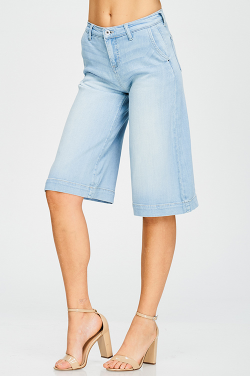 Cute cheap light blue washed denim high waisted wide leg cropped boho culotte jeans