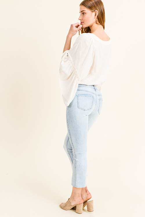 Cute cheap Light blue washed denim mid rise cutoff raw hem boho cropped boot cut jeans