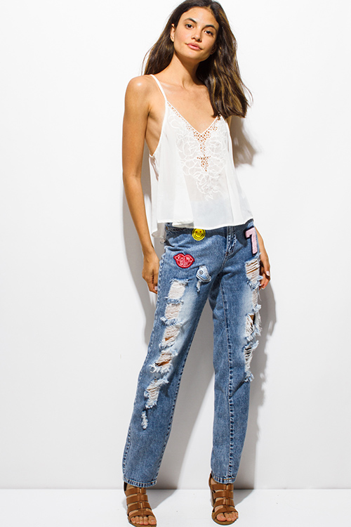Cute cheap light blue washed denim high waisted destroyed patch applique boyfriend jeans