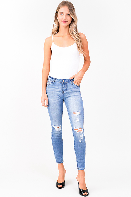 Cute cheap light blue washed denim mid rise distressed ripped fitted skinny jeans