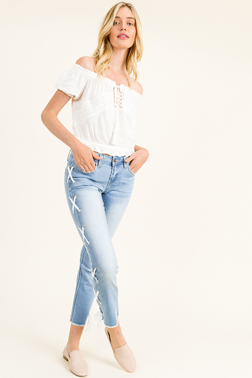 Cute cheap Light blue washed denim mid rise laceup side frayed hem cropped boho straight leg jeans