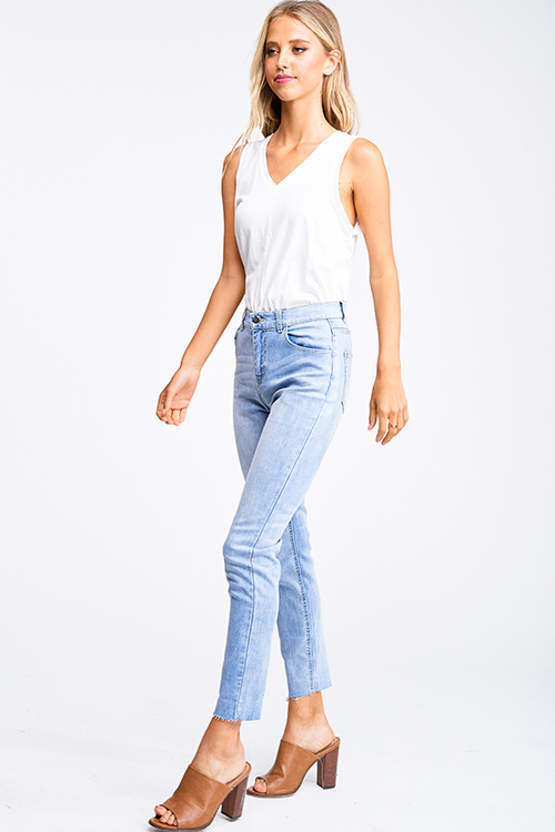 Cute cheap Light blue washed denim mid rise raw hem fitted boho skinny jeans