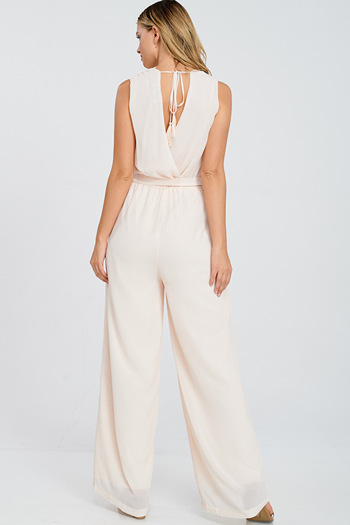 Cute cheap Light blush peach chiffon sleeveless surplice tassel tie back wide leg pocketed boho evening jumpsuit