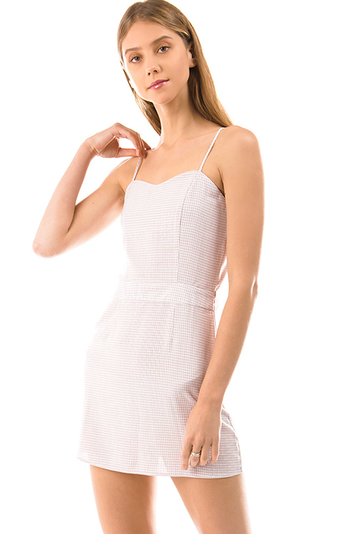 Cute cheap light blush pink gingham print sleeveless smocked pencil fitted mini dress