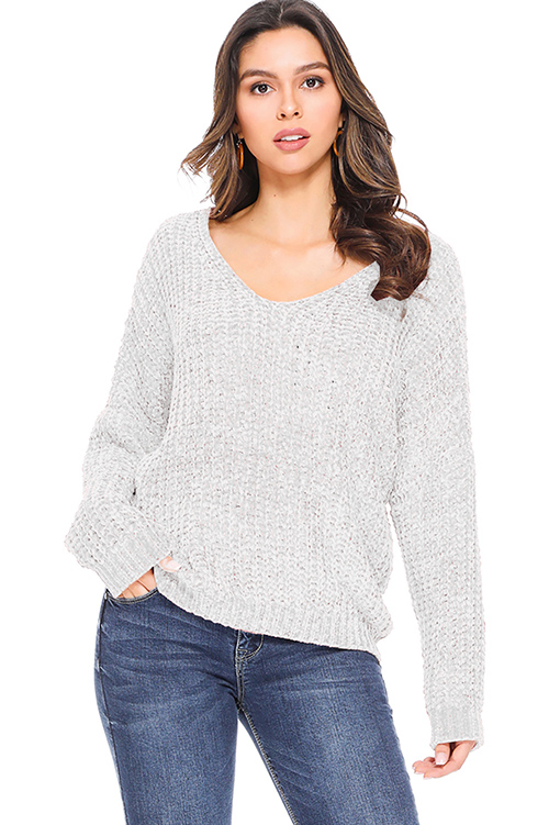 Cute cheap Light grey chenille knit off shoulder long sleeve boho sweater top