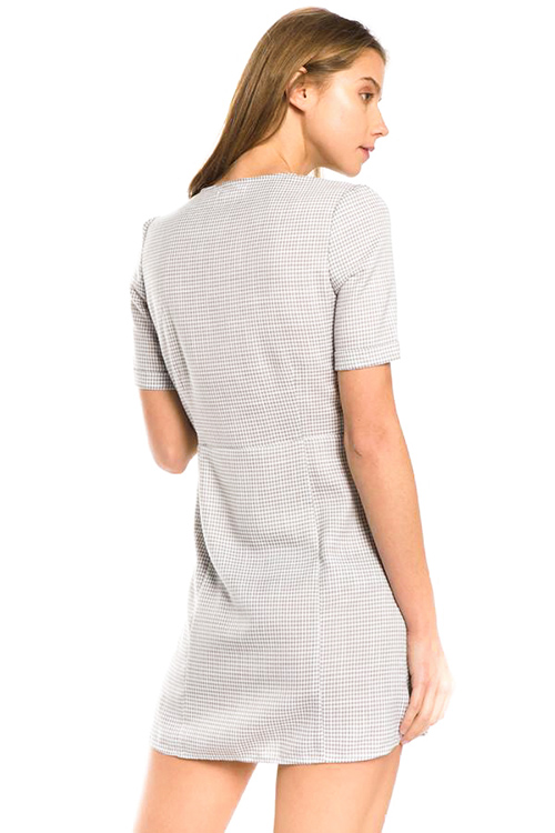 Cute cheap light grey gingham print v neck short sleeve button up mini shirt dress