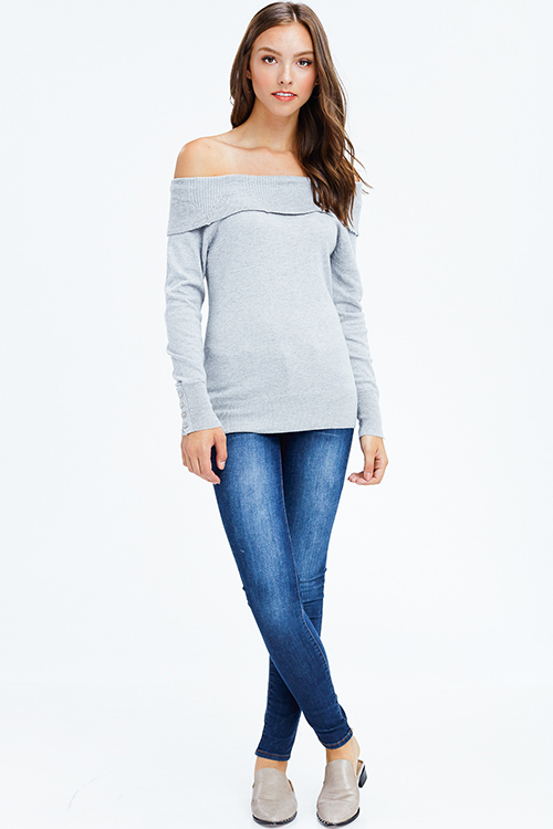 Cute cheap light grey off shoulder long sleeve boho sweater knit top
