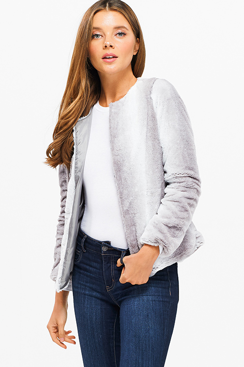 Cute cheap light grey ombre faux fur long sleeve collarless open front cropped boho party coat jacket