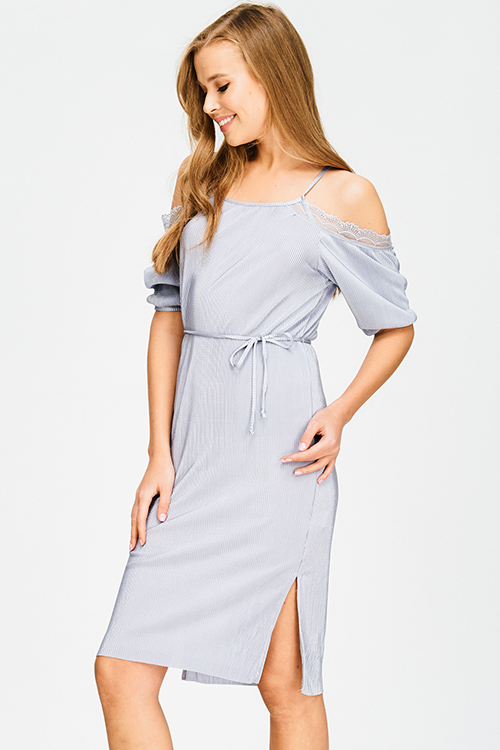 Cute cheap light grey silver cold shoulder tie waist micro pleat lace trim pencil fitted party midi dress