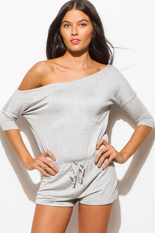Cute cheap light heather gray off shoulder quarter sleeve drawstring pocketed lounge romper jumpsuit