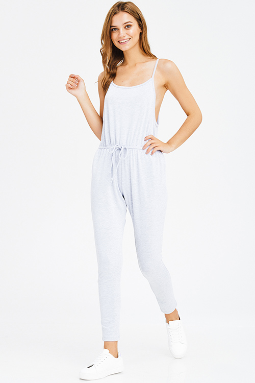 Cute cheap light heather grey sleeveless drawstring lounge pocketed harem jogger jumpsuit