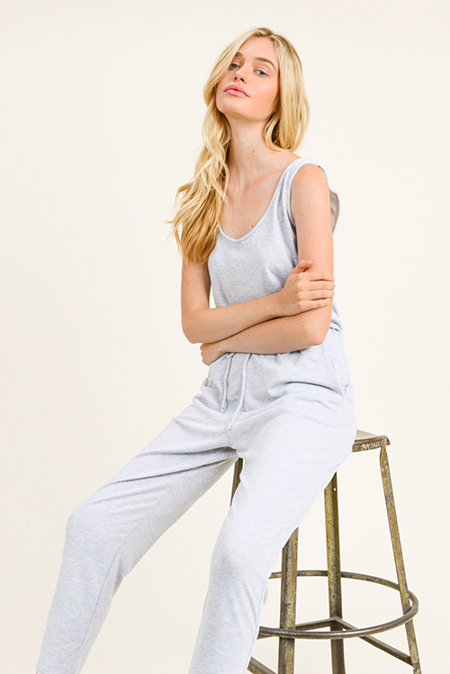 Cute cheap Light heather grey sleeveless drawstring tie waist pocketed harem jogger jumpsuit