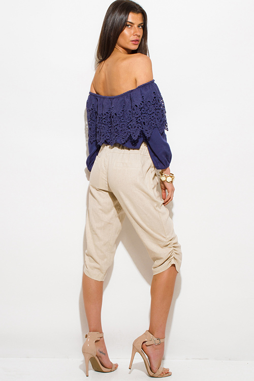 Cute cheap light khaki beige linen side ruched cropped harem resort boho lounge pants