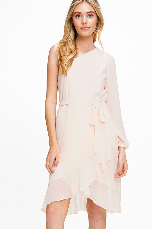 Cute cheap Light peach pink chiffon one shoulder long sleeve belted ruffled cocktail party midi dress