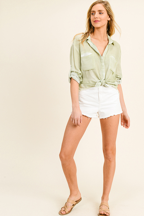 Cute cheap Light sage green rayon gauze back slit summer boho button up blouse top