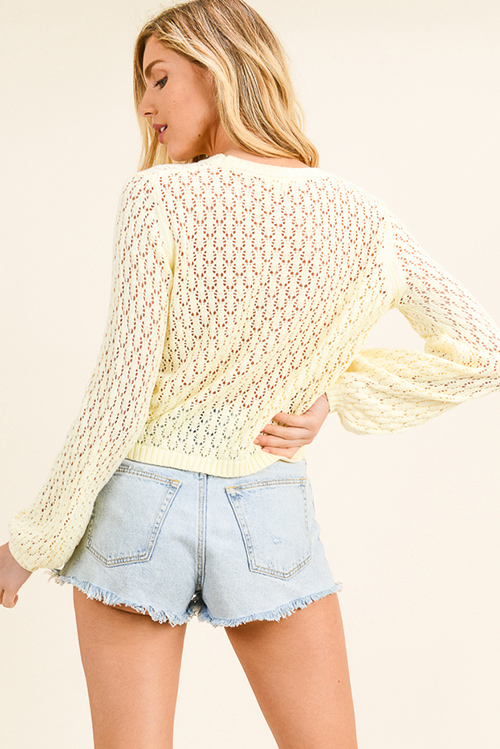 Cute cheap Light yellow knit long bubble sleeve boho cropped sweater top