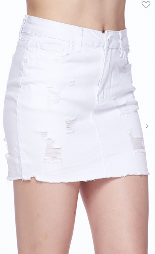 Cute cheap Lightly washed denim skirt, distressing and frayed bottom hem.