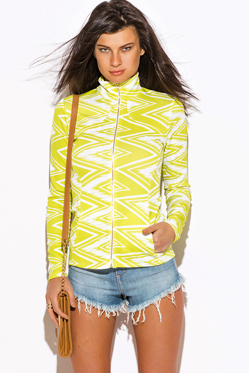 Cute cheap lime green chevron print scuba zip up high neck fitted sporty long sleeve jacket top