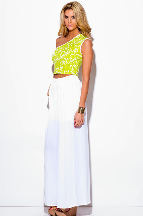 e7d5961fd9963 Cute cheap lime green ethnic print one shoulder fitted party crop top