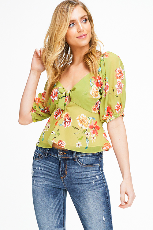 Cute cheap Lime green floral print short sleeve tie front boho crop blouse top
