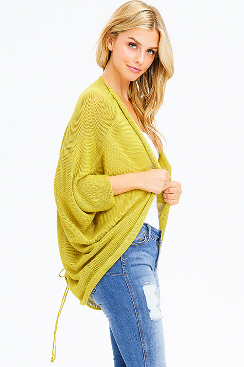 Cute cheap lime mustard green knit dolman sleeve ruched back boho shrug cardigan top