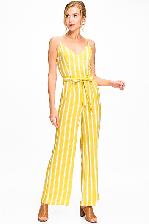 Cute cheap Lime yellow striped sleeveless v neck high waisted belted wide leg boho jumpsuit