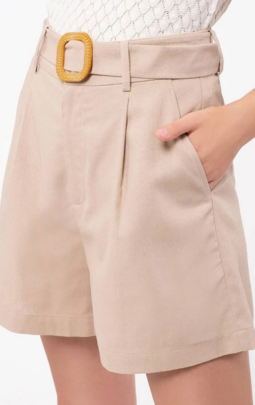 Cute cheap linen short with carved buckle belt