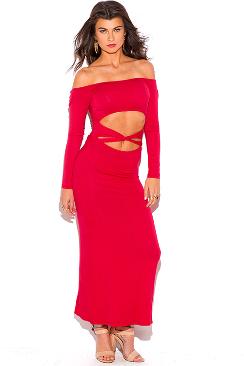 Cute cheap lipstick red cut out off shoulder long sleeve jersey summer maxi dress