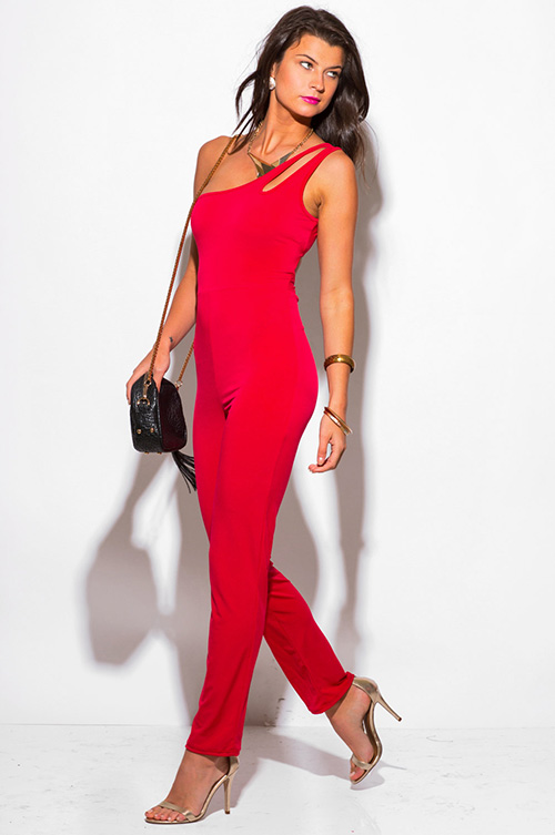 Shop lipstick red cut out one shoulder backless evening party ...
