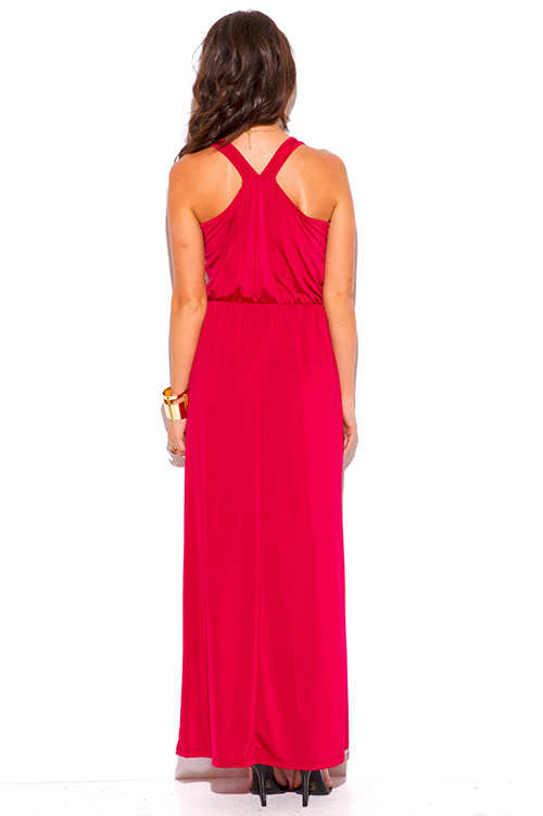 Cute cheap lipstick red ruched deep v neck high slit formal evening maxi dress