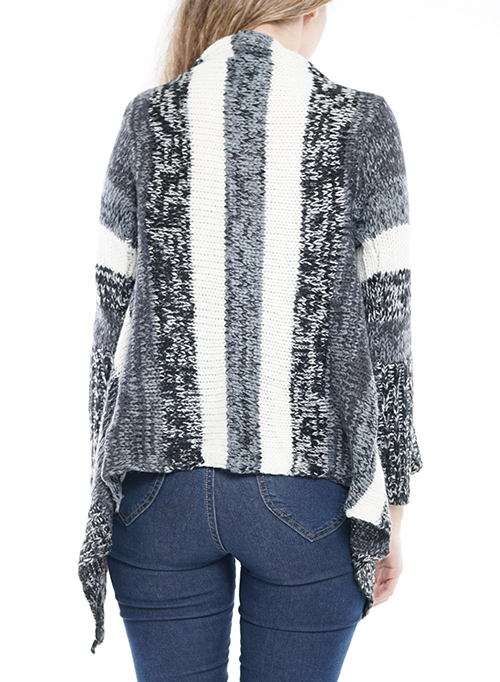 Cute cheap long sleeve flare asymmetrical open cardigan.